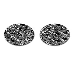Digitally Created Peacock Feather Pattern In Black And White Cufflinks (oval)