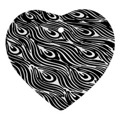 Digitally Created Peacock Feather Pattern In Black And White Heart Ornament (two Sides)