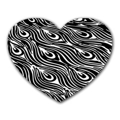 Digitally Created Peacock Feather Pattern In Black And White Heart Mousepads