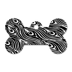 Digitally Created Peacock Feather Pattern In Black And White Dog Tag Bone (one Side)