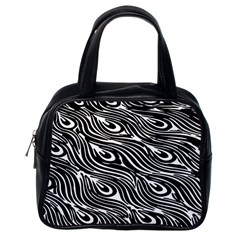 Digitally Created Peacock Feather Pattern In Black And White Classic Handbags (one Side)