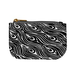 Digitally Created Peacock Feather Pattern In Black And White Mini Coin Purses