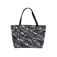Digitally Created Peacock Feather Pattern In Black And White Shoulder Handbags