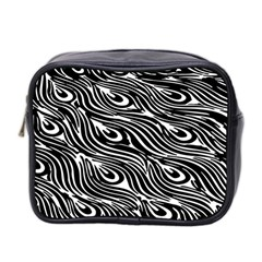 Digitally Created Peacock Feather Pattern In Black And White Mini Toiletries Bag 2 Side