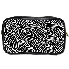 Digitally Created Peacock Feather Pattern In Black And White Toiletries Bags