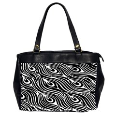 Digitally Created Peacock Feather Pattern In Black And White Office Handbags (2 Sides)
