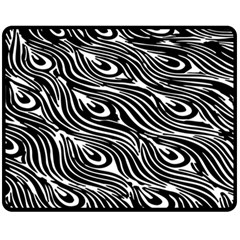 Digitally Created Peacock Feather Pattern In Black And White Fleece Blanket (medium)