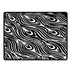 Digitally Created Peacock Feather Pattern In Black And White Fleece Blanket (small)