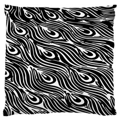 Digitally Created Peacock Feather Pattern In Black And White Large Cushion Case (two Sides)