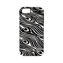 Digitally Created Peacock Feather Pattern In Black And White Apple Iphone 5 Classic Hardshell Case (pc+silicone)