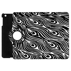 Digitally Created Peacock Feather Pattern In Black And White Apple Ipad Mini Flip 360 Case