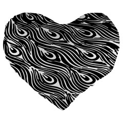 Digitally Created Peacock Feather Pattern In Black And White Large 19  Premium Heart Shape Cushions