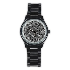 Digitally Created Peacock Feather Pattern In Black And White Stainless Steel Round Watch