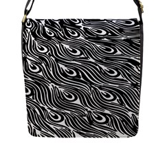 Digitally Created Peacock Feather Pattern In Black And White Flap Messenger Bag (l)