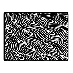 Digitally Created Peacock Feather Pattern In Black And White Double Sided Fleece Blanket (small)
