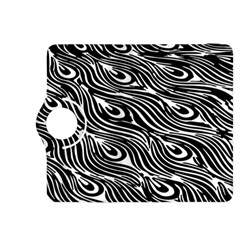 Digitally Created Peacock Feather Pattern In Black And White Kindle Fire Hdx 8 9  Flip 360 Case