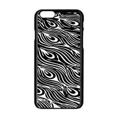 Digitally Created Peacock Feather Pattern In Black And White Apple Iphone 6/6s Black Enamel Case