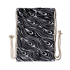 Digitally Created Peacock Feather Pattern In Black And White Drawstring Bag (small)