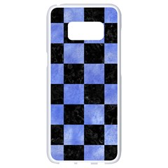 Square1 Black Marble & Blue Watercolor Samsung Galaxy S8 White Seamless Case