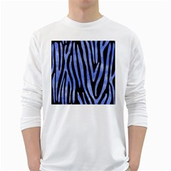 Skin4 Black Marble & Blue Watercolor (r) Long Sleeve T Shirt