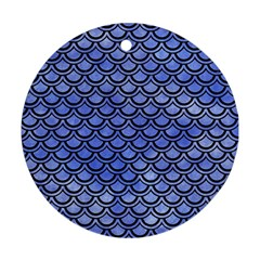 Scales2 Black Marble & Blue Watercolor (r) Round Ornament (two Sides)