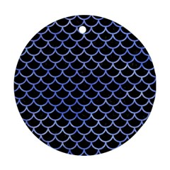 Scales1 Black Marble & Blue Watercolor Round Ornament (two Sides)