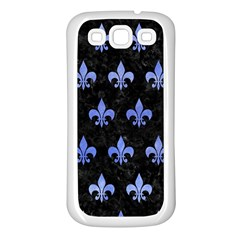 Royal1 Black Marble & Blue Watercolor (r) Samsung Galaxy S3 Back Case (white)