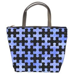 Puzzle1 Black Marble & Blue Watercolor Bucket Bag