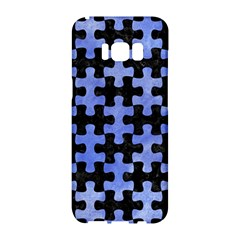 Puzzle1 Black Marble & Blue Watercolor Samsung Galaxy S8 Hardshell Case