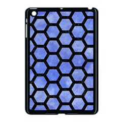 Hexagon2 Black Marble & Blue Watercolor (r) Apple Ipad Mini Case (black)