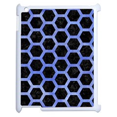 Hexagon2 Black Marble & Blue Watercolor Apple Ipad 2 Case (white)