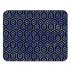 Hexagon1 Black Marble & Blue Watercolor Double Sided Flano Blanket (large)