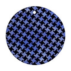 Houndstooth2 Black Marble & Blue Watercolor Round Ornament (two Sides)