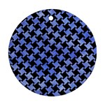 HOUNDSTOOTH2 BLACK MARBLE & BLUE WATERCOLOR Round Ornament (Two Sides) Back