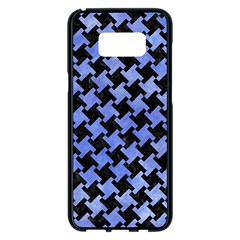 Houndstooth2 Black Marble & Blue Watercolor Samsung Galaxy S8 Plus Black Seamless Case