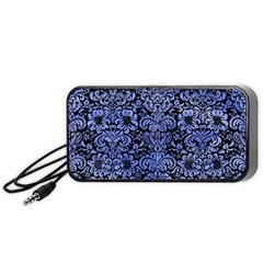 Damask2 Black Marble & Blue Watercolor Portable Speaker (black)