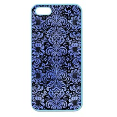Damask2 Black Marble & Blue Watercolor Apple Seamless Iphone 5 Case (color)