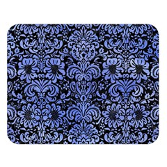 Damask2 Black Marble & Blue Watercolor Double Sided Flano Blanket (large)