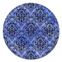 Damask1 Black Marble & Blue Watercolor (r) Magnet 5  (round)