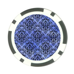 Damask1 Black Marble & Blue Watercolor (r) Poker Chip Card Guard (10 Pack)
