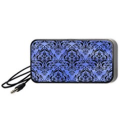 Damask1 Black Marble & Blue Watercolor (r) Portable Speaker (black)