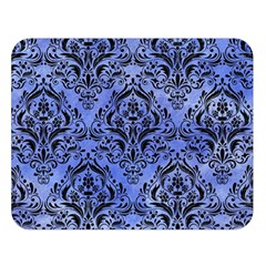 Damask1 Black Marble & Blue Watercolor (r) Double Sided Flano Blanket (large)