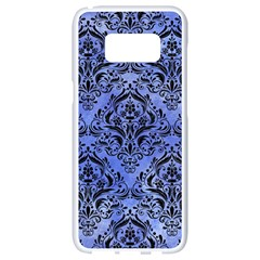 Damask1 Black Marble & Blue Watercolor (r) Samsung Galaxy S8 White Seamless Case