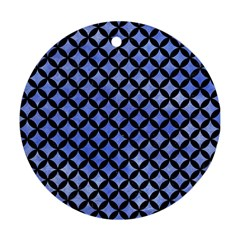 Circles3 Black Marble & Blue Watercolor (r) Round Ornament (two Sides)