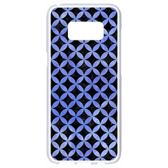 Circles3 Black Marble & Blue Watercolor Samsung Galaxy S8 White Seamless Case