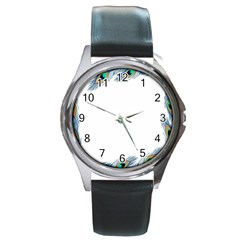 Beautiful Frame Made Up Of Blue Peacock Feathers Round Metal Watch