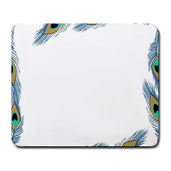Beautiful Frame Made Up Of Blue Peacock Feathers Large Mousepads