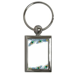 Beautiful Frame Made Up Of Blue Peacock Feathers Key Chains (rectangle)