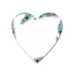 Beautiful Frame Made Up Of Blue Peacock Feathers Heart Magnet
