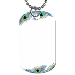 Beautiful Frame Made Up Of Blue Peacock Feathers Dog Tag (one Side)